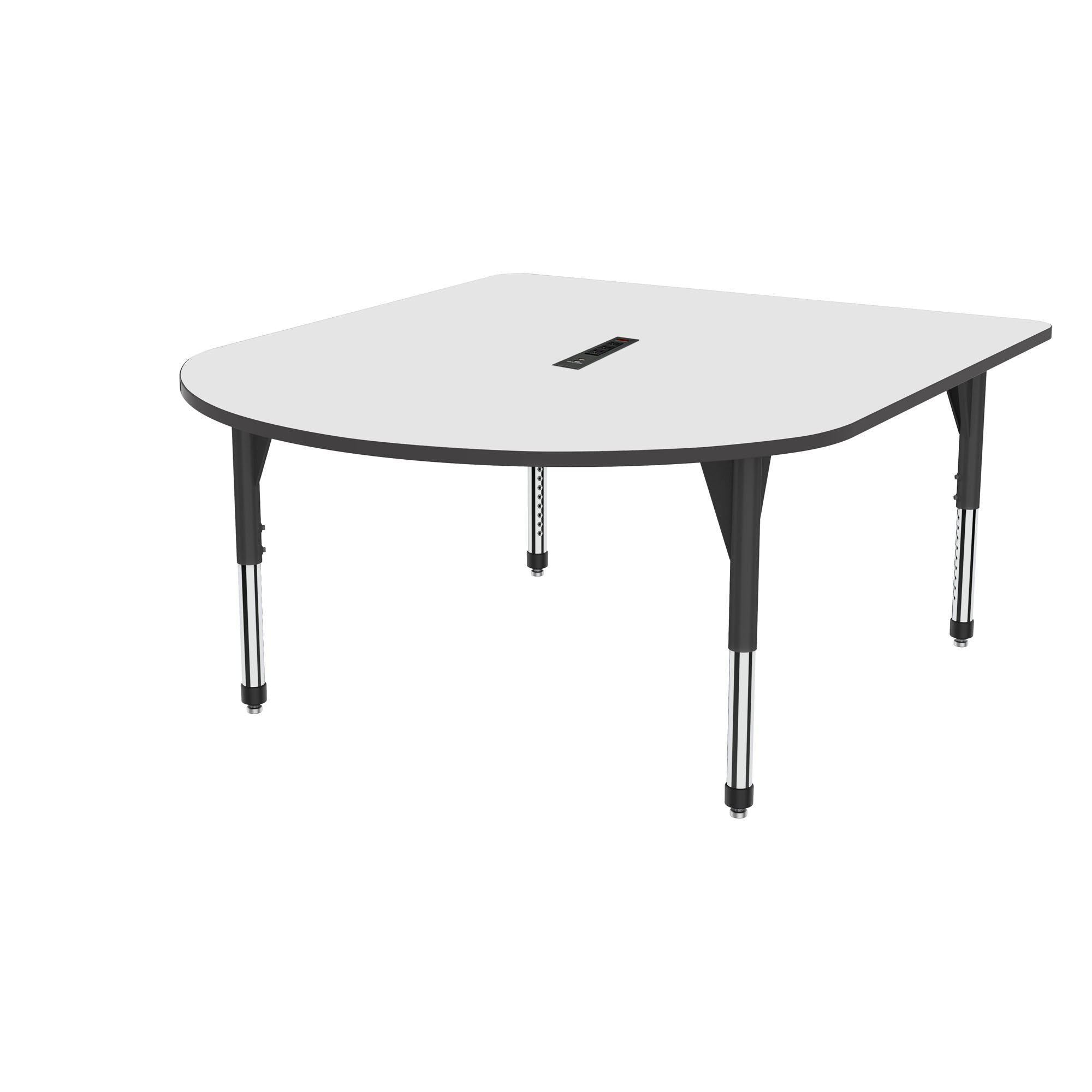 "Premier Series Multimedia Tables with White Dry-Erase Top and Power Module, 60"" x 72""-Tables-Sitting (21"" - 31"")-White Dry Erase/Black-Black"