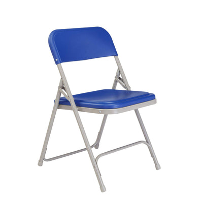 Premium Lightweight Plastic Folding Chair (Carton of 4)-Chairs-Blue Plastic/Grey Frame-