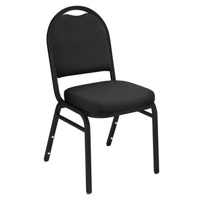 Premium Upholstered Dome-Back Stack Chair-Chairs-Ebony Black Fabric/Black Sandtex Frame-