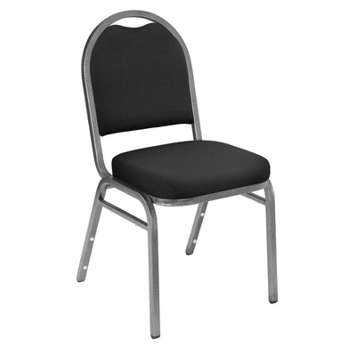 Premium Upholstered Dome-Back Stack Chair-Chairs-Ebony Black Fabric/Silvervein Frame-