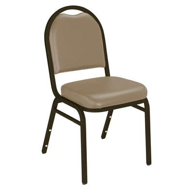 Premium Upholstered Dome-Back Stack Chair-Chairs-French Beige Vinyl/Mocha Frame-