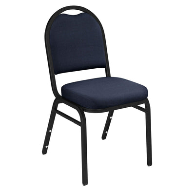 Premium Upholstered Dome-Back Stack Chair-Chairs-Midnight Blue Fabric/Black Sandtex Frame-
