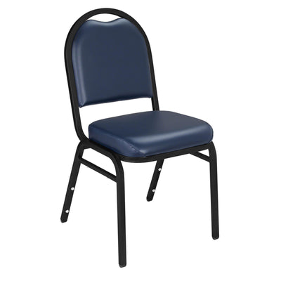 Premium Upholstered Dome-Back Stack Chair-Chairs-Midnight Blue Vinyl/Black Sandtex Frame-