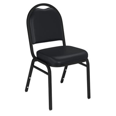 Premium Upholstered Dome-Back Stack Chair-Chairs-Panther Black Vinyl/Black Sandtex Frame-