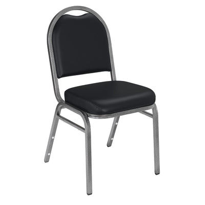 Premium Upholstered Dome-Back Stack Chair-Chairs-Panther Black Vinyl/Silvervein Frame-
