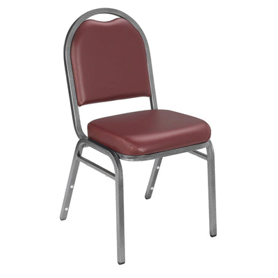 Premium Upholstered Dome-Back Stack Chair-Chairs-Pleasant Burgundy Vinl/Silvervein Frame-