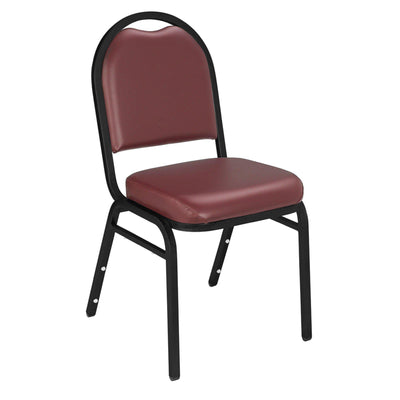 Premium Upholstered Dome-Back Stack Chair-Chairs-Pleasant Burgundy Vinyl/Black Sandtex Frame-
