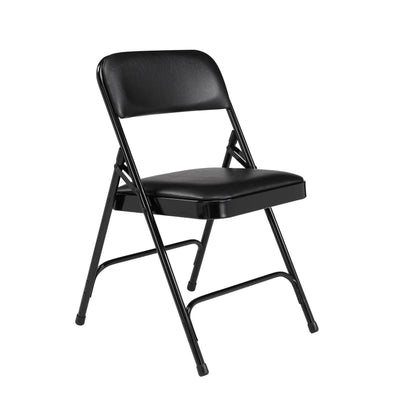 Premium Vinyl Upholstered Double Hinge Folding Chair (Carton of 4)-Chairs-Caviar Black Vinyl/Black Frame-