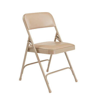 Premium Vinyl Upholstered Double Hinge Folding Chair (Carton of 4)-Chairs-French Beige Vinyl/Beige Frame-