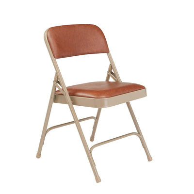 Premium Vinyl Upholstered Double Hinge Folding Chair (Carton of 4)-Chairs-Honey Brown Vinyl/Beige Frame-