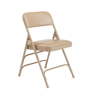 Premium Vinyl Upholstered Triple Brace Double Hinge Folding Chair (Carton of 4)-Chairs-French Beige Vinyl/Beige Frame-