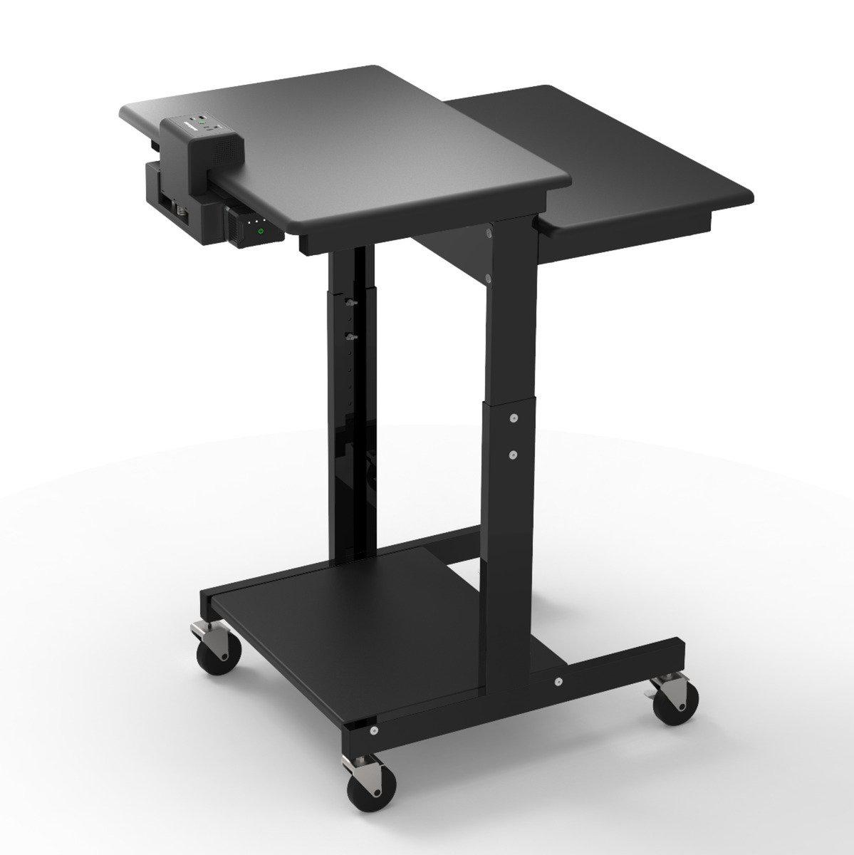 Mobile Adjustable Height Workstation with KwikBoost EdgePower Charging Station