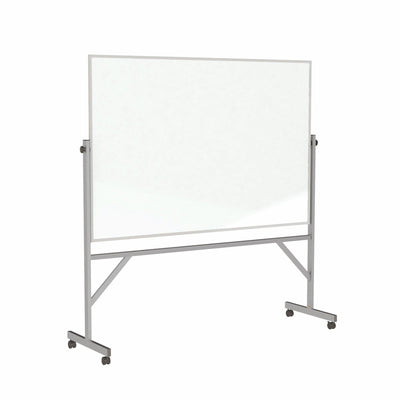Reversible Magnetic Porcelain Whiteboard with Aluminum Frame-Boards-4'H x 6'W-