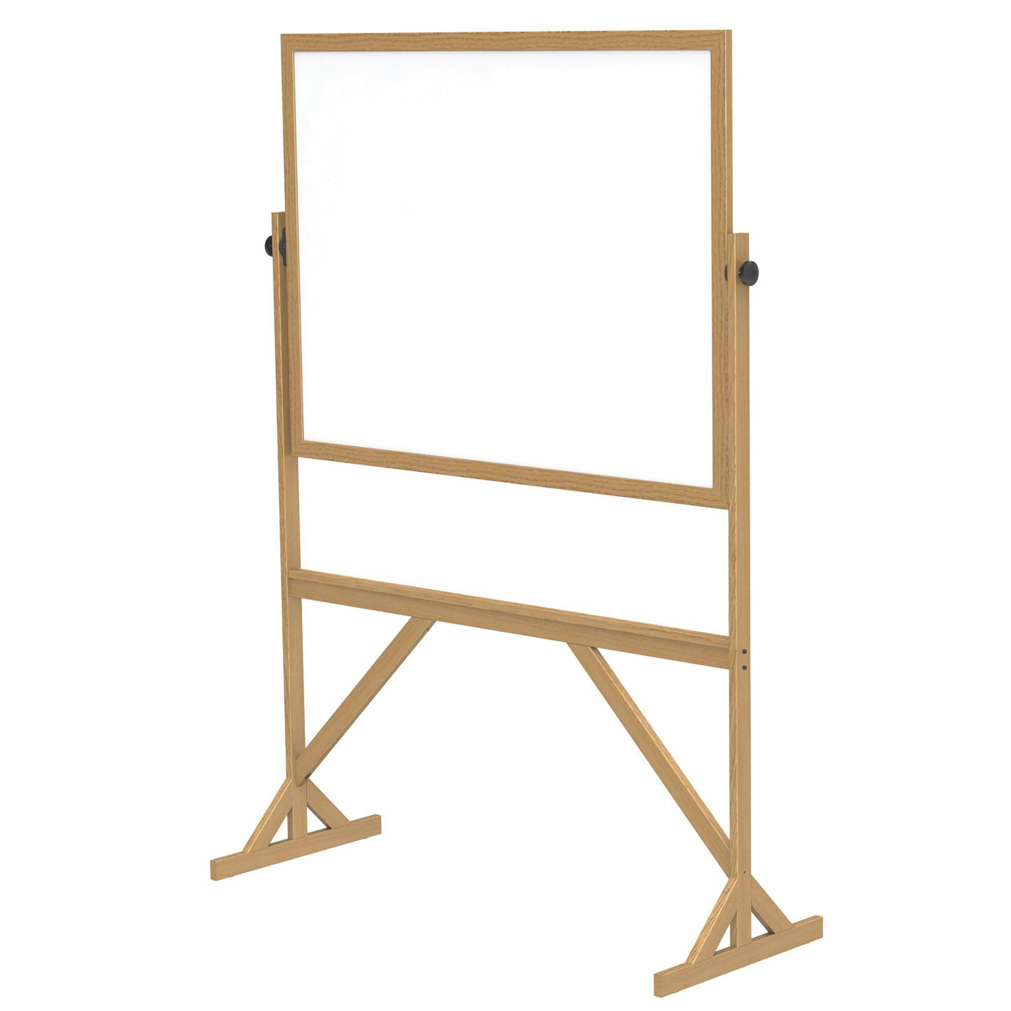 Reversible Whiteboard with Wood Frame-Boards-3'H x 4'W-