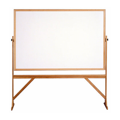 Reversible Whiteboard with Wood Frame-Boards-4'H x 6'W-
