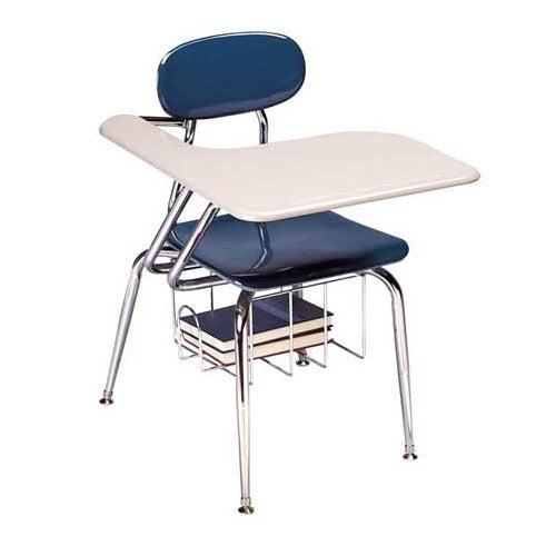 "Solid Plastic Tablet Arm 4-Leg Chair Desk with Solid Plastic Top and Bookrack, 17-1/2"" Seat Height"