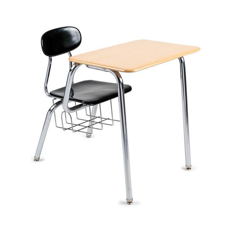 "Solid Plastic Combo Desk w/ Bookbasket, 5/8"" Thick Plastic, 17-1/2"" Seat Height"