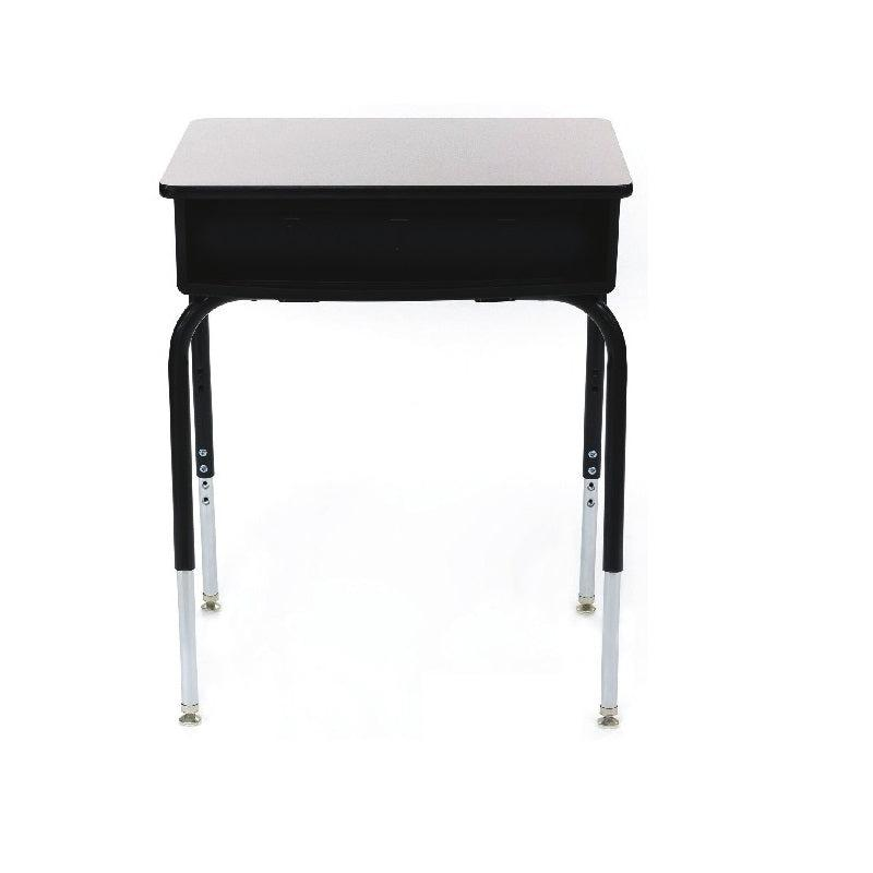 2200 Series Adjustable Height Open Front Desk with Plastic Bookbox, Solid Plastic Top - QUICK SHIP