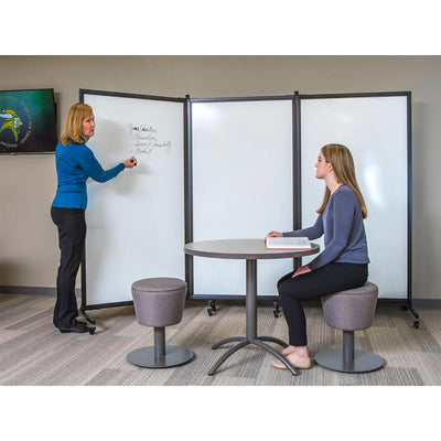 "Screenflex White Board Room Divider, 6' 2"" High-Partitions & Display Panels-"