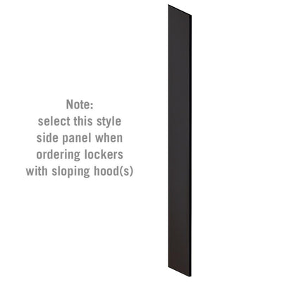 "Side Panel for 6' High x 15"" Deep Designer Wood Lockers with Sloping Hoods-Lockers-Black-"