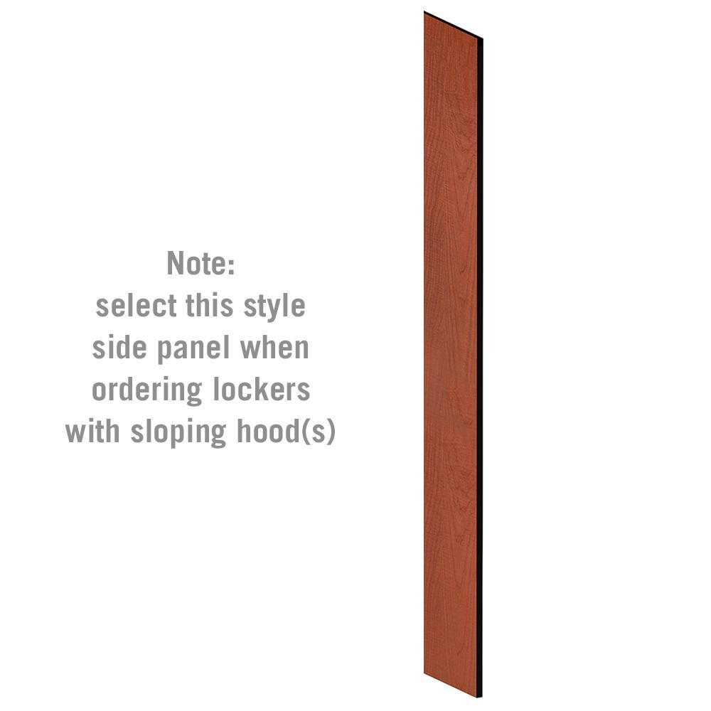 "Side Panel for 6' High x 15"" Deep Designer Wood Lockers with Sloping Hoods-Lockers-Cherry-"