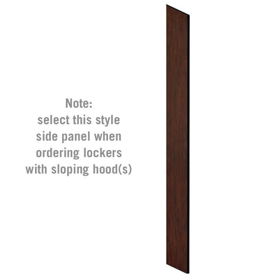 "Side Panel for 6' High x 15"" Deep Designer Wood Lockers with Sloping Hoods-Lockers-Mahogany-"