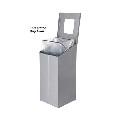 Slope Standard Height Painted Steel 38-Gallon Waste Receptacle with Double Top Openings and Internal Rigid Liners