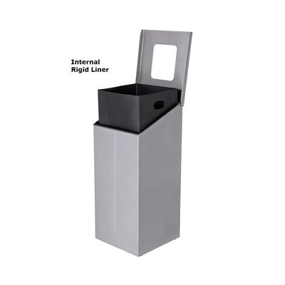 Slope Junior Height Painted Steel 32-Gallon Waste Receptacle with Single Top Opening and Internal Rigid Liner