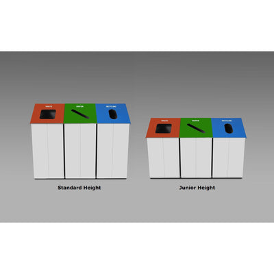 Slope Standard Height Painted Steel 38-Gallon Waste Receptacle with Single Top Opening and Internal Rigid Liner