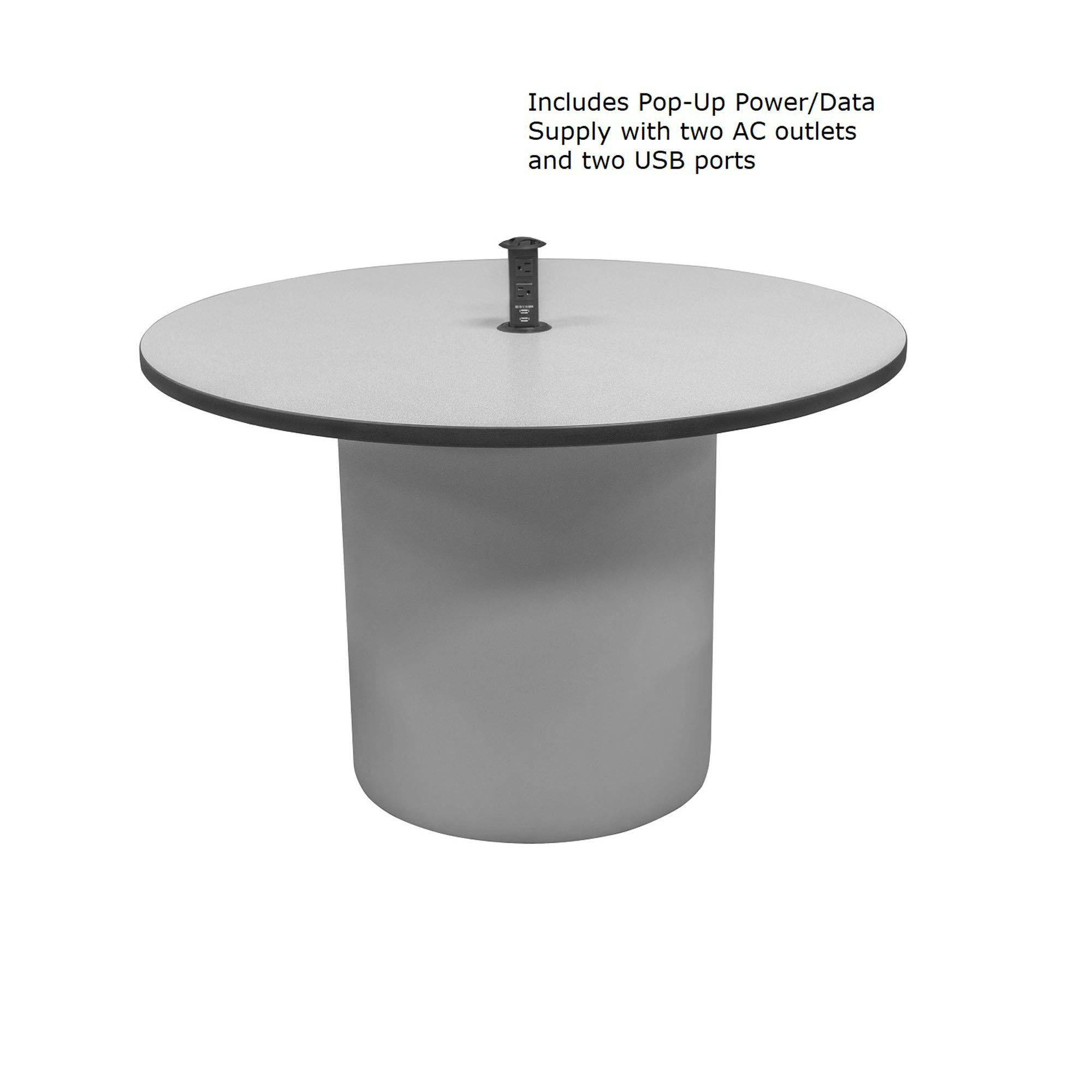 "Sonik™ Soft Seating 48"" Round Table with Power/Data Supply-Soft Seating-"