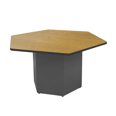 "Sonik™ Soft Seating Hexagon Table-Soft Seating-29""-Solar Oak/Black-Charcoal"