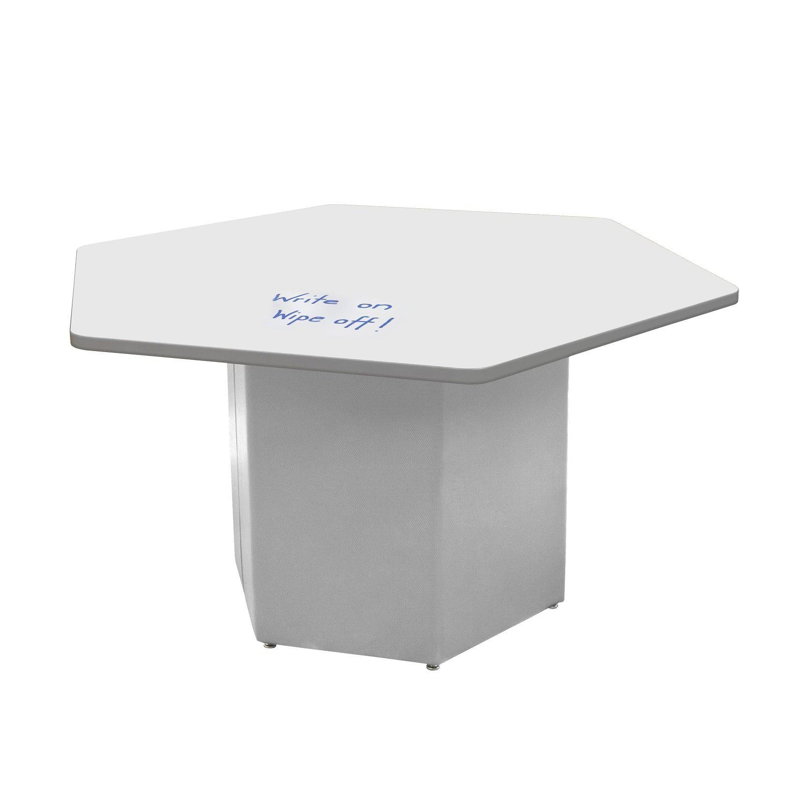 "Sonik™ Soft Seating HexagonTable with Markerboard Top and Power/Data Supply-Soft Seating-29""-Markerboard/Gray-Frost"