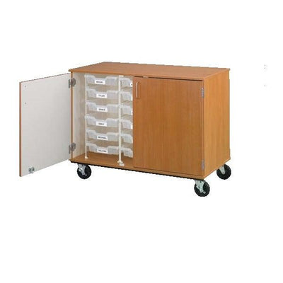 "Closed Bin Mobile Storage with (18) 3"" Bins, Lockable"