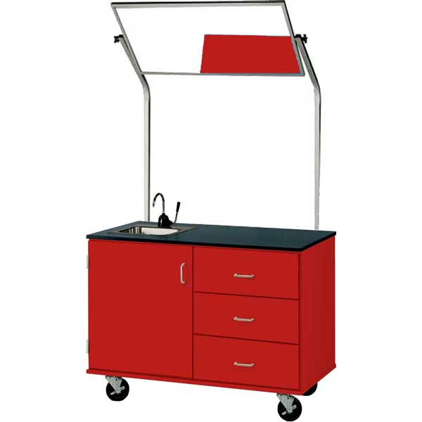 48″ Wide Mobile Demonstration Station With Mirror and Sink, Lockable