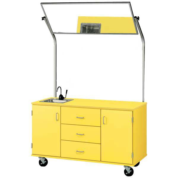59″ Wide Demonstration Station With Sink and Mirror, Lockable
