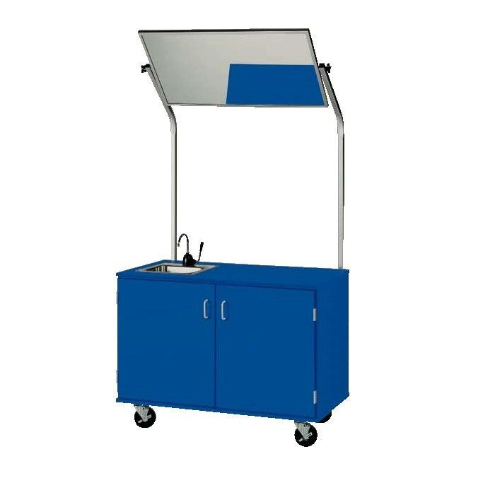 48″ Wide Basic Mobile Demonstration Station With Sink and Mirror, Lockable