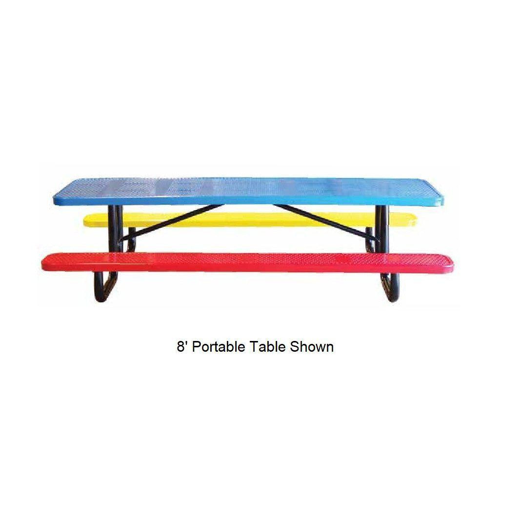 8' Children's Perforated Picnic Table, In Ground Mount