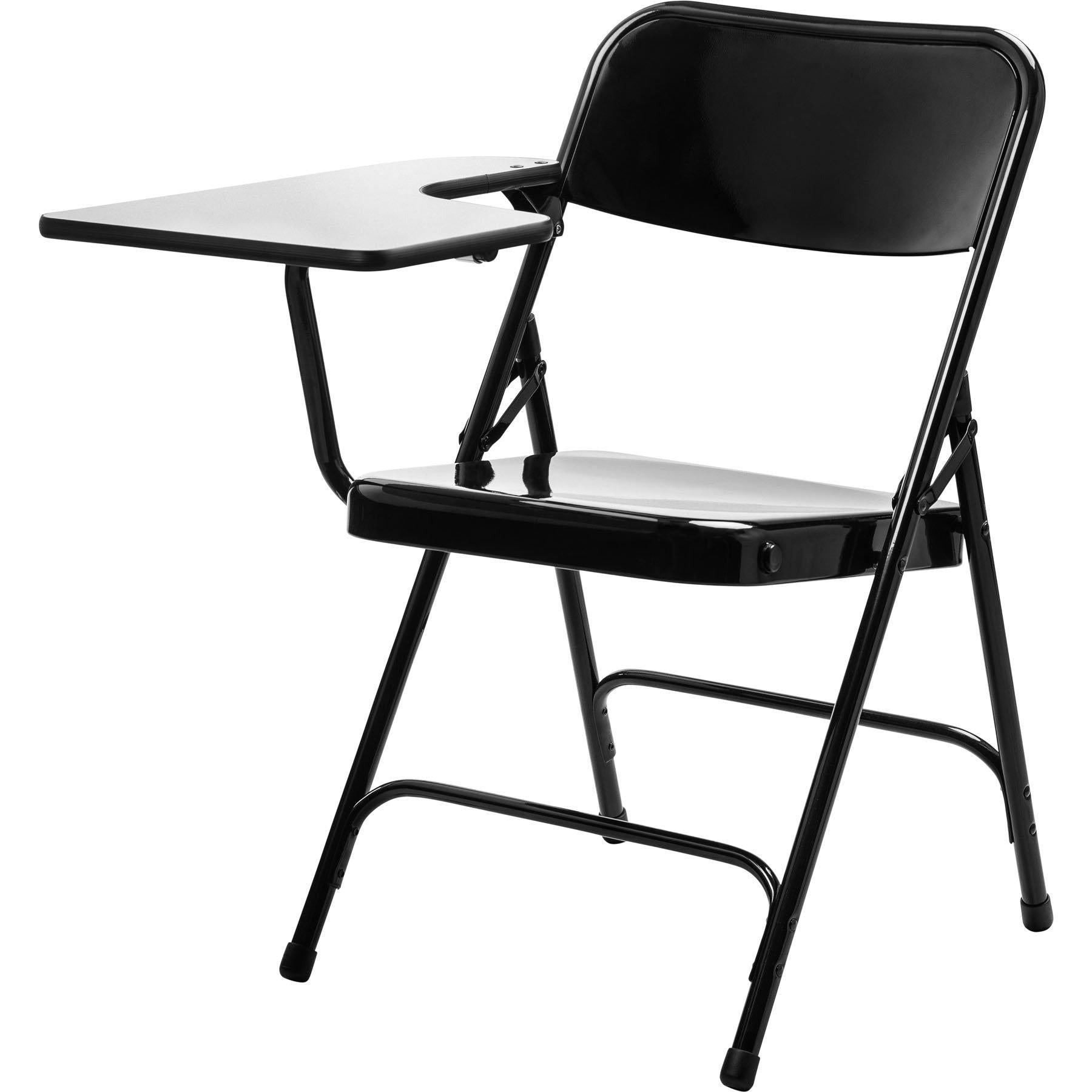 Tablet Arm Folding Chair, Black