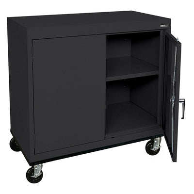Transport Series Double Door Work Height Storage Cabinet, 36 x 18 x 30, Black