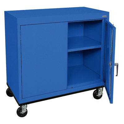 Transport Series Double Door Work Height Storage Cabinet, 36 x 18 x 30, Blue