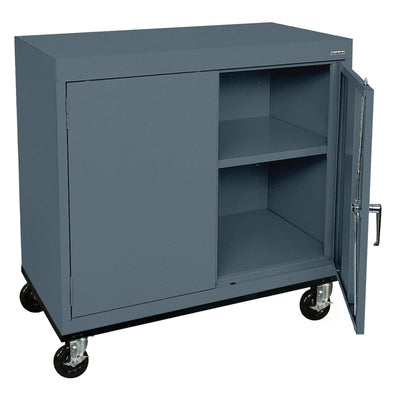 Transport Series Double Door Work Height Storage Cabinet, 36 x 18 x 30, Charcoal