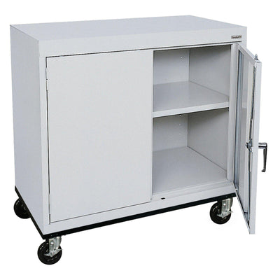 Transport Series Double Door Work Height Storage Cabinet, 36 x 18 x 30, Dove Gray