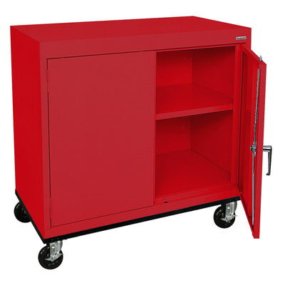 Transport Series Double Door Work Height Storage Cabinet, 36 x 18 x 30, Red