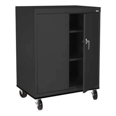 Transport Series Double Door Work Height Storage Cabinet, 36 x 24 x 42, Black