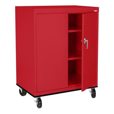 Transport Series Double Door Work Height Storage Cabinet, 36 x 24 x 42, Red
