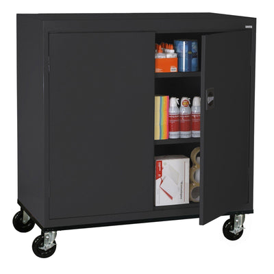 Transport Series Double Door Work Height Storage Cabinet, 46 x 24 x 42, Black