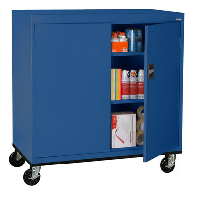 Transport Series Double Door Work Height Storage Cabinet, 46 x 24 x 42, Blue