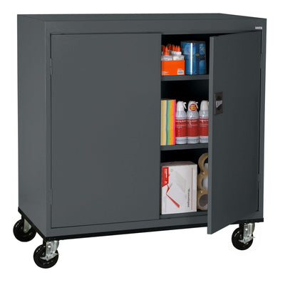 Transport Series Double Door Work Height Storage Cabinet, 46 x 24 x 42, Charcoal