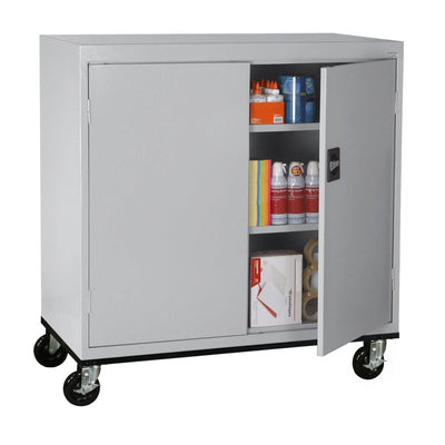 Transport Series Double Door Work Height Storage Cabinet, 46 x 24 x 42, Dove Gray