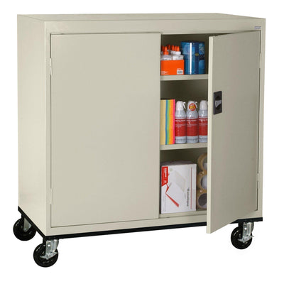 Transport Series Double Door Work Height Storage Cabinet, 46 x 24 x 42, Putty